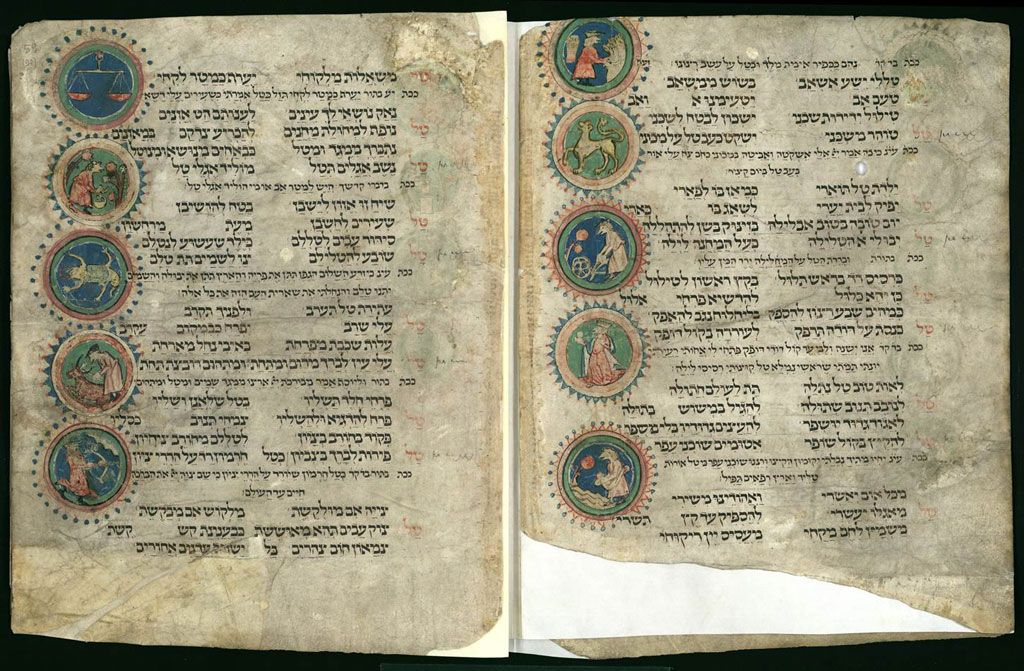 Libro de rezos para días festivos de Worms (1272), de Simhah ben Yehudah el Escriba (BNI)