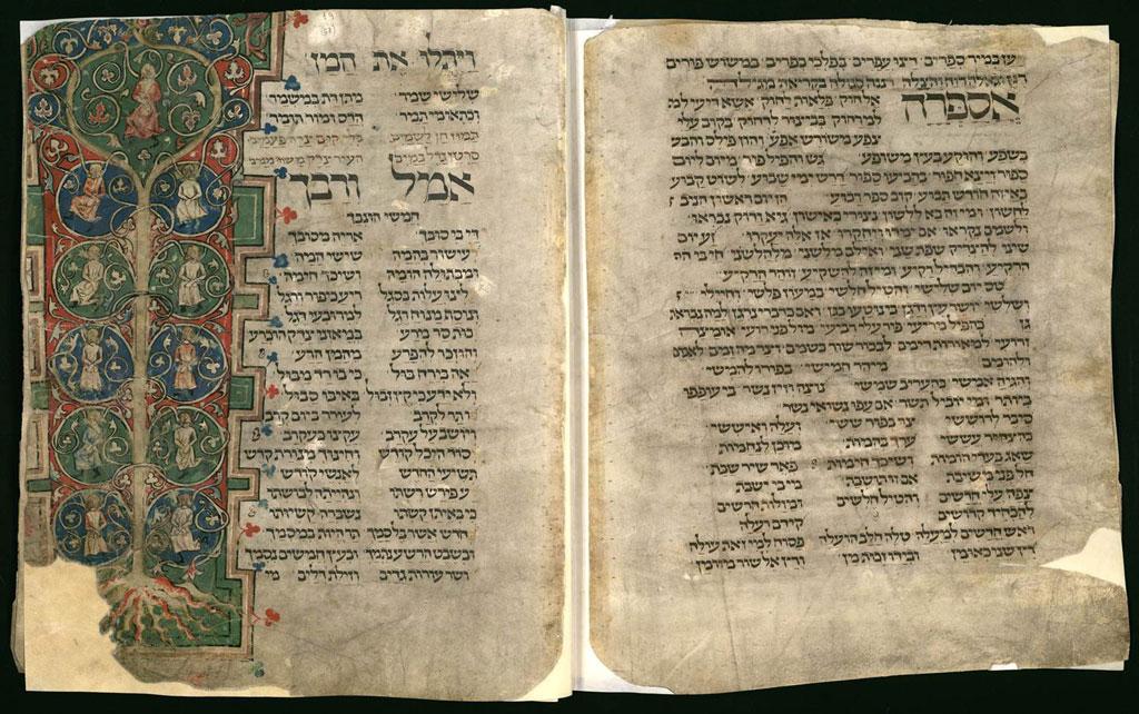 Festival de Purim. Libro de rezos para días festivos de Worms (1272), de Simhah ben Yehudah el Escriba (BNI)