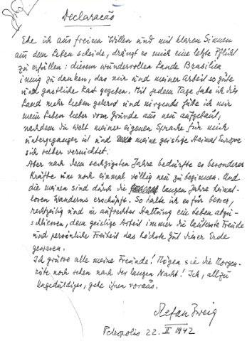 La carta de suicidio de Stefan Zweig. Petrópolis, 22 de febrero de 1942 (BNI)
