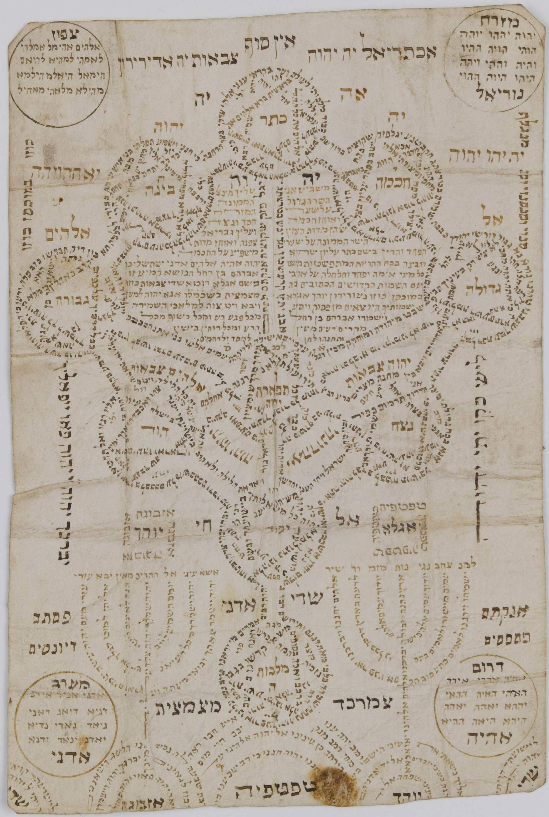 Ilan Sefirot, mapa cabalístico de la divinidad. Ámsterdam, siglo XVIII (BNI)