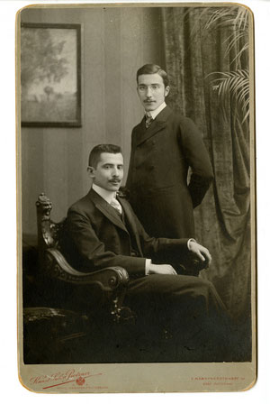 Stefan Zweig, standing, with his brother Alfred in Vienna, circa 1900.