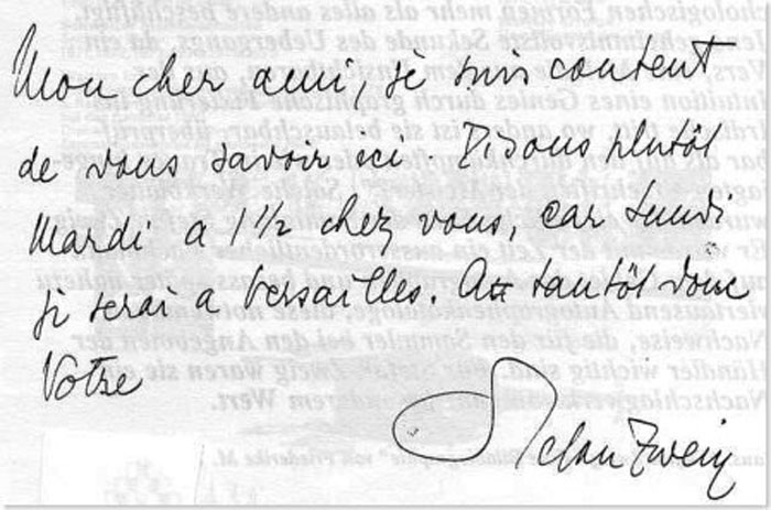 Stefan Zweig's note in French to one of his Parisian Friends